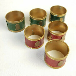 Set of 6 x Vintage Brass Green / Red Christmas Tree Napkin Rings Holders