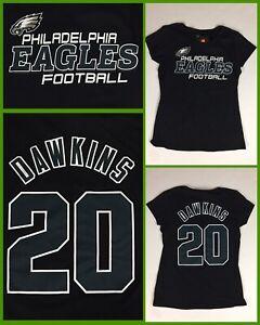 NWT Women's BRIAN DAWKINS Philadelphia Eagles #20 Jersey-Style Black TShirt - Lg