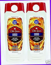2 Old Spice AMBER and Black Currant Body Wash Shower Gel for Men 16 oz