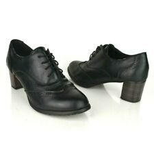 Odema Womens size 9 Black Wingtip Lace up Heeled Oxfords Pumps Brogue Shoes