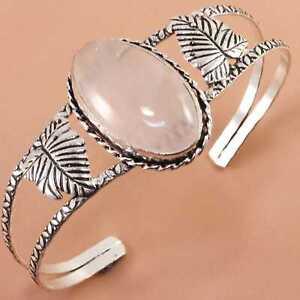 Rose Quartz Gemstone 925 Sterling Silver Jewelry Cuff-Bracelet 7''Adjustable