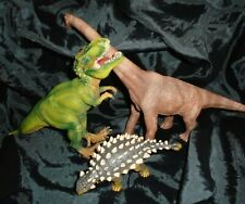 Schleich Dinosaur Brown Figures 2011 Excellent - Set of 3 Hinge Mouth T Rex +
