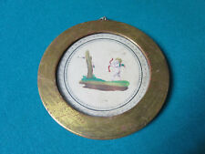 """ANTIQUE ROUND COLORED PRINT GOLDEN WOOD FRAME 5 1/4"""" [*CAMEOS]"""