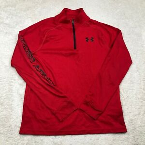 Under Armour 1/4 Zip Youth Large Heat Gear Loose Fit Long Sleeve Red Boys