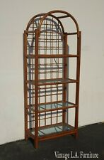 Vintage Mid Century Bamboo Rattan Four Glass Shelf Bookcase French Country