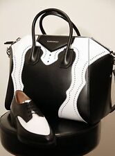 NWT AUTHENTIC GIVENCHY MEDIUM ANTIGONA LEATHER PURSE IN BLACK / WHITE BROGUE