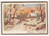 Tarjeta Postal Años 60 Feliz Navidad Casas en el Río Puente Bosque Felicitación