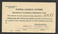 1935 Postal Savings System Depositor's Numerical Reference Card.