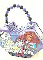Monster High Group Faces Diamond Shaped Purse Beaded Handle Tin Metal Box Purple