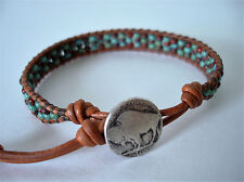 Turquoise & Red Picasso Glass Beaded Leather Wrap Bracelet Handcrafted