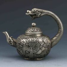 Collection Chinese Tibetan silver hand-carved dragon teapot