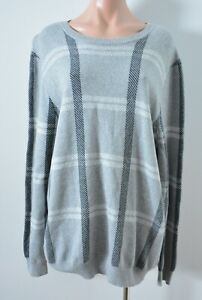 Saba Men's Jumper Sweater Size XL Grey Check Long Sleeve Cotton Wool