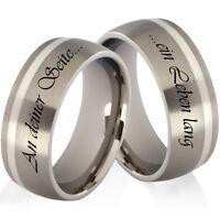 2 Eheringe Trauringe Verlobungsringe aus Titan und 925 Silber Lasergravur T967