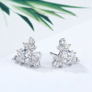 1.90Ct Round Cut Sparkling Push Back Cluster Stud Earrings 14K White Gold Finish