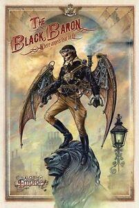 Black Baron, Steampunk Gothic Skull Lion, Alchemy Empire, Small Metal Tin Sign