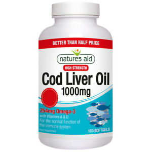 Natures Aid Cod Liver Oil 1000mg High Strength Omega-3 Softgels Choice of Size