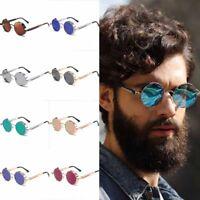 New Vintage Steampunk Sunglasses Fashion Round Mirrored Retro Eyewear