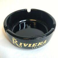 Riviera Dinos Den Delmonico Vintage Las Vegas Casino Hotel Black Glass Ash Tray