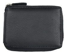 RFID protected pocket sized genuine leather wallet with metal zipper around