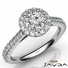 Round Diamond Engagement GIA F VVS1 Platinum French V Cut Halo Pave Ring 1.5ct