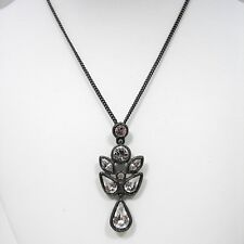 Givenchy Crystal Angel Pendant Necklace Hematite Tone Metal Statement Jewelry
