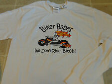 BIKER BABES we don't ride bitch! T-SHIRT SM longsleeve 2-sided motorcycle rally