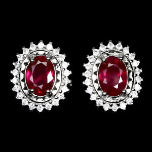 Oval Red Ruby 7x5mm Cz 14K White Gold Plate 925 Sterling Silver Earrings