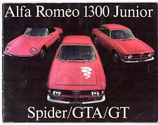 Alfa Romeo Giulia 1300 GT Junior Spider GTA 1969-70 UK Market Sales Brochure