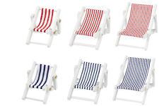 Liegestuhl weiß Mini Maritim Urlaub Strand Reise Deko Dekoration Miniatur
