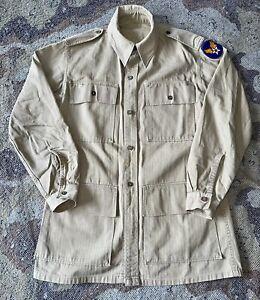 American Made British WW2 HBT War Aid Bush Jacket Size 2 Herringbone Twill