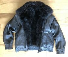 Andrew Marc BOMBER Leather Jacket  Removable New Zealand Opossum Fur Vest XS 12