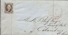 SCOTT #1 FOLDED MANUSCRIPT COVER 1849, Cincinatti to Columbus, OH