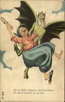 Devil Demon Flys Away w/ Woman Fantasy French c1915 Postcard G19