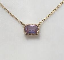 Francesca's Purple Baguette Gemstone Gold Necklace