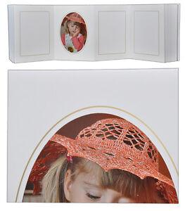 Leporello für 50 Fotos 13x18 - weiß mit Goldkante - Passepartouts eckig + oval