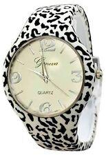 Zebra Watch Leather Bangle Animal Print Cuff Designer Classy Fashion Geneva