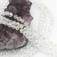 100 pcs 6mm Chinese Crystal Glass Loose Beads Round Faceted Clear Quartz with AB