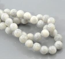 30 perles en verre gris avec effet marbré 8 mm