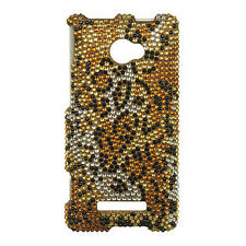 For HTC Windows 8X Crystal Diamond BLING Hard Case Phone Cover Golden Cheetah