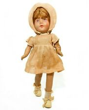 Early 20Th C Vint Hand Painted Paper Mache Doll, W/Linen Bonnet/Dress/Tie Shoes