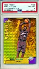 1999 Topps Finest Gems Karl Malone PSA 8 NM-MT /100 Jazz Gold Refractor #108