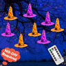 8 Pcs Hanging Lighted Glowing Witch Hat Decorations, Halloween Lights String Out