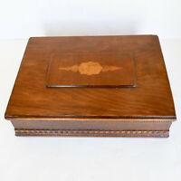 Victorian Inlaid Marquetry Walnut? Wood Box 14x10 Hinged Beaded Trim Antique