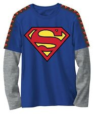 Superman Blue Long Sleeved T-Shirt DC Comics - Youth Large (10/12) - New w/Tags!