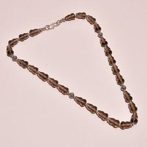 925 Sterling Solid Silver Necklace Smoky Topaz Handmade (DCB)