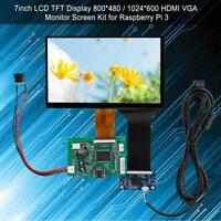 7'' Raspberry Pi 3 LCD Display 5V 800*480/1024*600 HDMI VGA Monitor Screen Kit