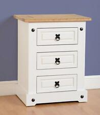 Seconique CORONA White & Distressed Waxed Pine 3 Drawer Bedside Table