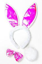 Hasenset rosa Glitzer Fasching Kostüm Bunny Hase Hasenohren Haarreif Karneval