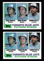 1982 JESSE BARFIELD TOPPS MAGENTA STREAK PRINTING ERROR ROOKIE 2 CARDS RC #203