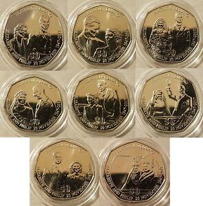 IOM 2017 70th PLATINUM ROYAL WEDDING ANNIV 50P Set 8 Coins Prot Caps PICK YOURS
